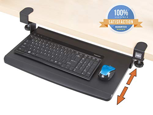 - Stand Steady Clamp On Keyboard Tray | Keyboard Shelf - Small Size - Easy Tool-Free Install - No Need to Drill into Desk! Retractable to Slide Under Desktop | Great for Home or Office!