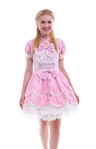 Princess Tutu Anime Costume (Nuoqi Ladies Lolita Dress Court Princess Bubble Skirt Anime Gothic Pink Cosplay Costume GC133C-3XL)