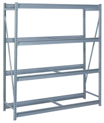 Lyon DD67335S 4 Tier Pre-Engineered Bulk Storage Rack Starter without Decking 72 Width x 48 Depth x 96 Height Dove Gray