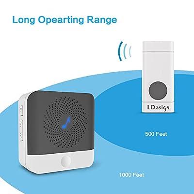 LDesign Wireless Doorbell Waterproof Door Bell Kit, Portable door chime with 1 Plug-In Receiver & 1 Push Button Transmitter, 1000 feet operating