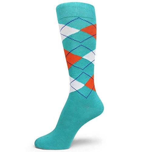 Spotlight Hosiery Men's Argyle Dress Sock,Turquoise/White/Orange ()