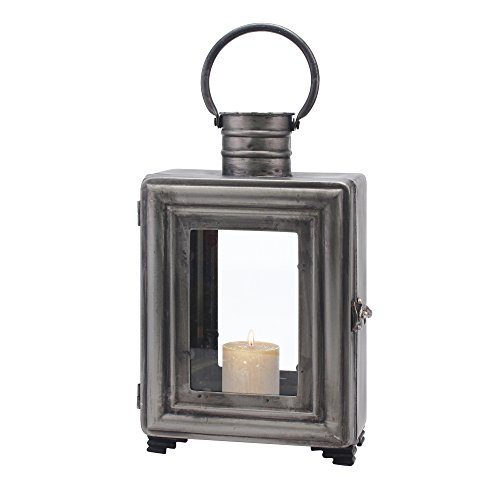 Stonebriar Vintage Pewter Metal Hurricane Candle Lantern with Hanging Loop, For Table Top, Mantle, or Wall Hanging Display, Indoor and Outdoor Use - Pewter Wall Hanging