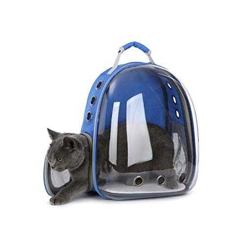 KARUIS Outdoor Cat Carrier Bag Small Dog Backpack for Kitty Puppy Travel Breathable Transparent Carrier Pet Bag,Blue,34X25X42Cm