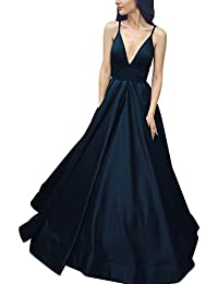 Long Spaghetti Straps Deep V-Neck A-Line Prom Dress With Pockets