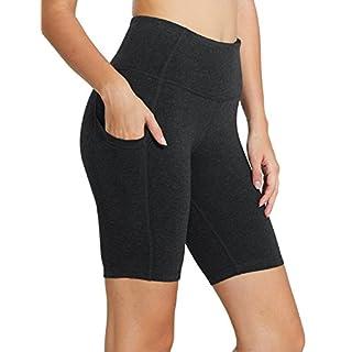 "BALEAF Women's 8"" High Waist Biker Workout Yoga Running Compression Exercise Shorts Side Pockets Charcoal Size M"