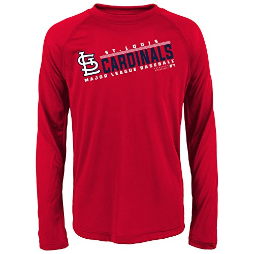 - MLB Youth 8-20 Cardinals performance Long sleeve Tee, L(14-16), Athletic Red