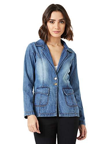 Miss Chase Women's Blue Full Sleeve Denim Blazer