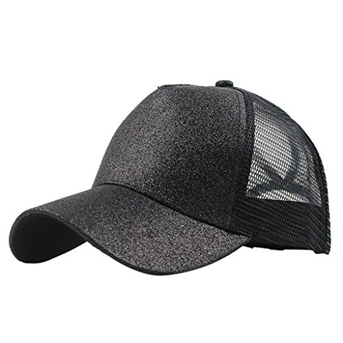 Outique Plain Dad Hat,Ponytail Trucker Plain Baseball Visor Cap Unisex Glitter Hat Low Profile Black ()