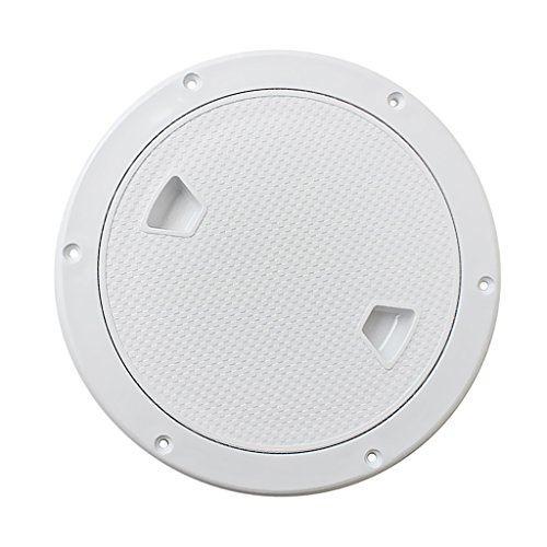 (Dovewill Marine Boat RV 4'' 6'' 8'' Round Inspection Hatch Cover Screw Out Deck Plate - White, 8inch)