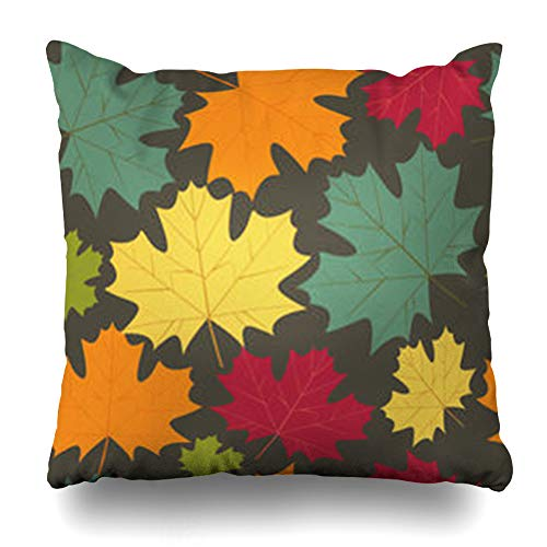 Pattern Mission Leaf (VanYES Throw Pillow Covers Border Beige Pattern Autumn Maple Leaves Abstract Fall Ornate Leaf Artistic Floral Home Decor Sofa Pillowcase Square Size 16 x 16 Inches Cushion Case)