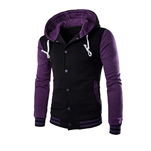Realdo Mens Contrast Color Hoodie, Clearance Sale Men's Warm Outwear Jacket Autumn Winter Slim Sweatshirt(Large,Purple)