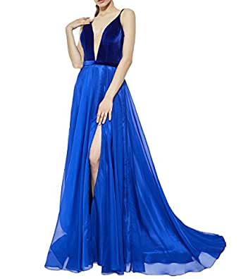 Vweil Sexy Deep V-Neck Evening Dress Long Formal Prom Dresses For Seniors Royal Blue US8