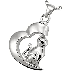 Memorial Gallery Pets 3068S Pet In My Heart Cat Pendant Sterling Silver Cremation Pet Jewelry