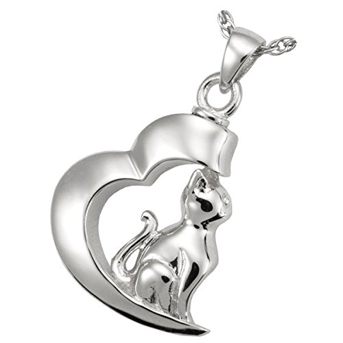 Memorial Gallery Pets 3068S Pet in My Heart Cat Pendant Sterling Silver Cremation Pet Jewelry by Memorial Gallery Pets