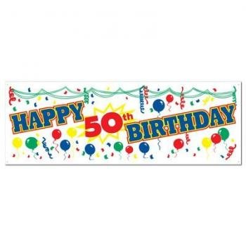 Happy 50th Birthday Sign Banner Party Accessory (1 count) (1/Pkg), Health Care Stuffs