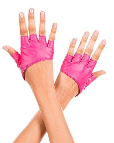 (Music Legs Women's Short Faux Leather Fingerless Gloves, Hot Pink, One)