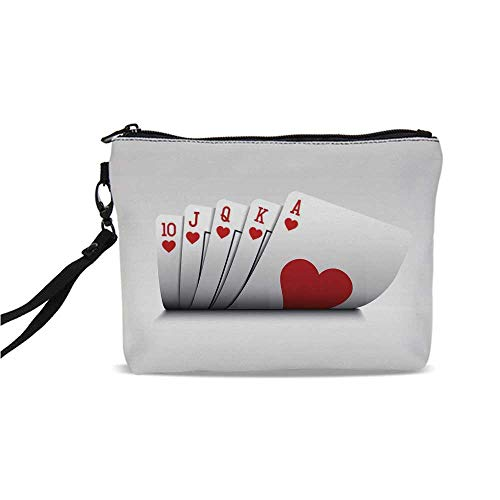 Flush Damask (Poker Tournament Decorations Simple Cosmetic Bag,Royal Flush Playing Cards Hearts Betting Bluff Gambling Decorative for Women,9