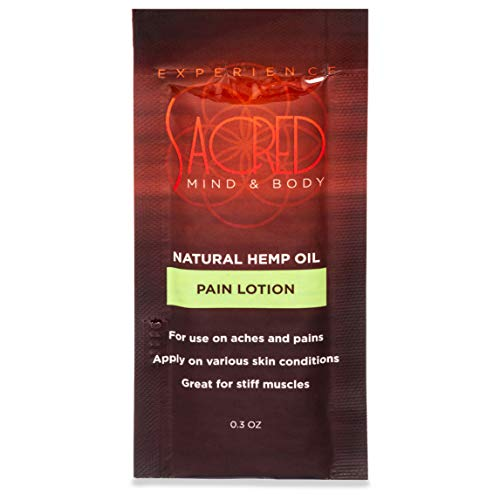 Hemp Sacred 12 Pack - 0.3 Ounce Individual Use Hemp Oil Lotion Packets for Pain, Joint, Muscle and Arthritis Relief