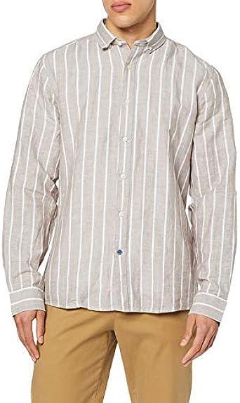 Springfield Stripe Linen Camisa Casual para Hombre