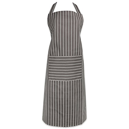 DII 100% Cotton Commercial Stripe Chef Apron with Pocket, Unisex Restaurant Kitchen Bib Apron, Adjustable Neck Strap & Waist Ties, Machine Washable, Perfect for Cooking, Baking, BBQ-Gray (Unique Gift Card Presentation)