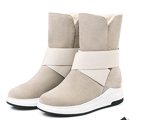 Bottes Chaussures Hiver Aisun Talon Beige Mode Femme De Plat EzAZwP0xq