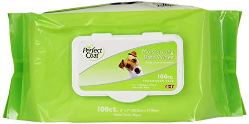 Perfect Coat Moisturizing Bath Moist Cloth Wipes for Dogs 100-Count Fragrance Free
