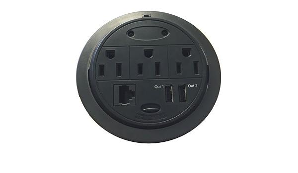 1 Ethernet 2 USB ports 3 Power Power Data Grommet