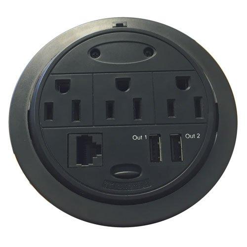 Power Data Grommet, 3 Power, 1 Ethernet, 2 USB ports