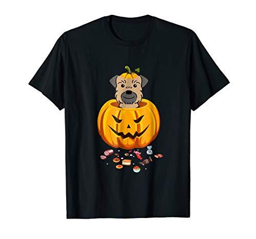 Funny Border Terrier Pumpkin Face Halloween Costume T-Shirt ()
