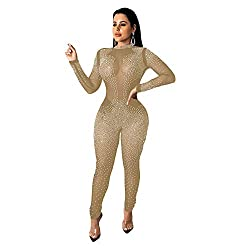 Rhinestone See Through Apricot_6 Mesh One Piece Jumpsuit