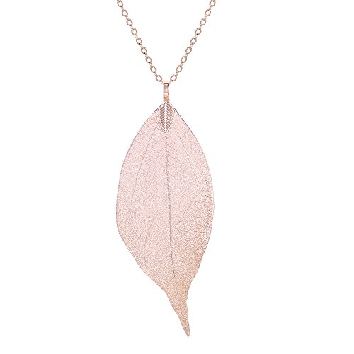 (BOUTIQUELOVIN Women's Long Leaf Pendant Necklaces Real Filigree Autumn Leaf Fashion Jewelry Gifts (Rose Gold))