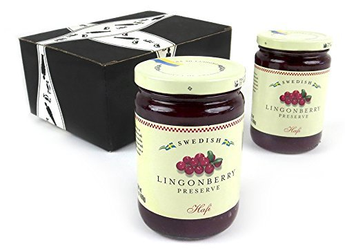 Hafi Lingonberry Preserves, 14.1 oz Jars in a BlackTie Box