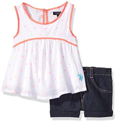 2 Piece Short Set Denim (U.S. Polo Assn. Little Girls' 2 Piece Doll Top and Stretch Denim Short, White,)