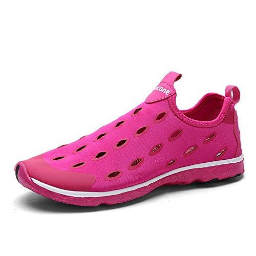 Gomnear Lichtgewicht Water Schoenen Mesh Vrouwen Antislip Ademend Slip-on Sport Lopen Rijden Casual Schoenen Rose Rood