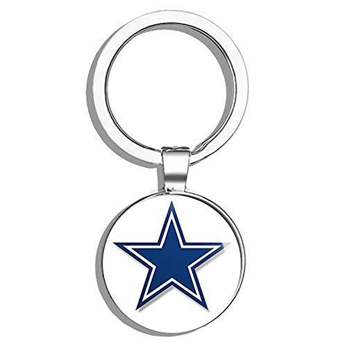 HJ Media Blue Star Dallas Cowboys Colors (Logo Big dak Fan Love).5 Metal Round Metal Key Chain Keychain Ring