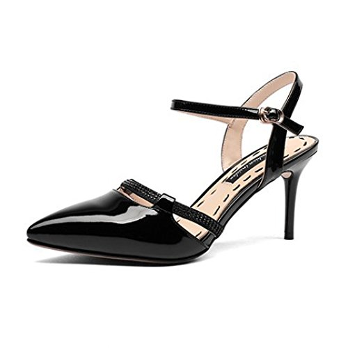 Womens Pointed Toe Slingback Sandals Dress Court Shoes Stiletto Shoes Wedding Evening Party Prom Black HR35j7o