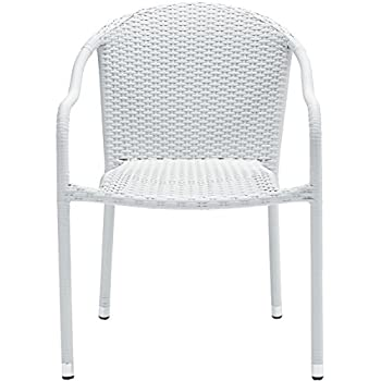 Crosley Furniture Palm Harbor Outdoor Wicker Stackable Chairs - White (Set of 4)