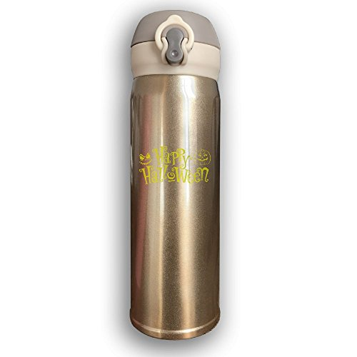 Unique Happy Halloween Thermos Drinkware Stainless Steel Sports Water Bottle - Metallic Finish With Sport Cap For Outdoor And Sport Activities, 16-Ounce, Yellow
