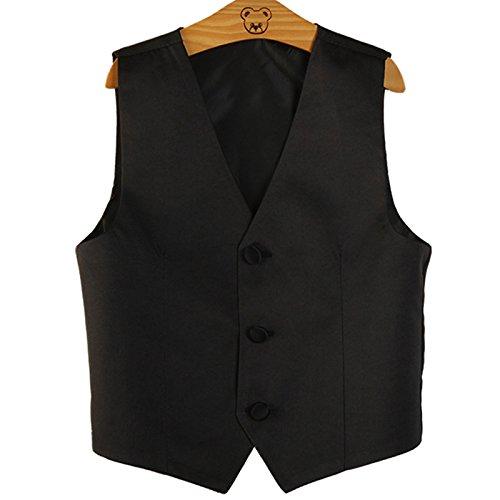 PYJTRL Boys Wedding Waistcoat (Black, Size 12/height 135-145cm) Performance Suit Vest