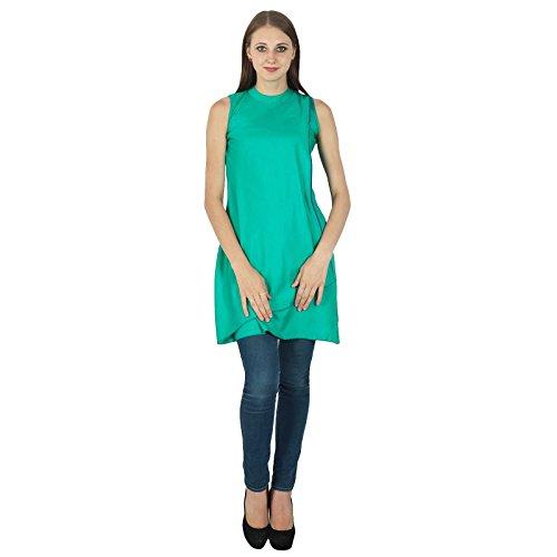 Diseñador indio de Bollywood verde Kurta Mujeres étnico Kurti Algodón tapa del vestido de la túnica
