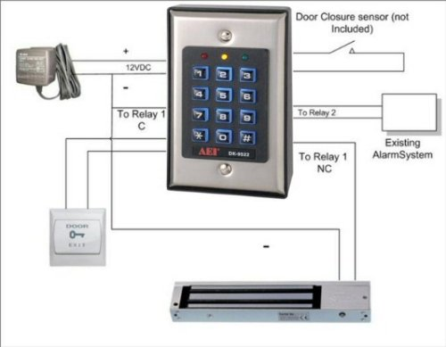 two relay digital keypad door entry set with 600lbs magnetic import it all. Black Bedroom Furniture Sets. Home Design Ideas