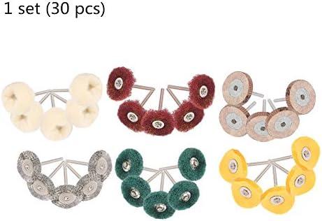 30本/セットミニ鋼線ブラシ研磨ホイール、グラインダーロータリーツールアクセサリー (UnitCount : 1 set)
