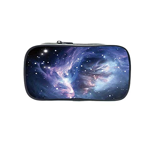 Polychromatic OptionalPen Bag,Space Decorations,Mysterious Nebula Gas Cloud in Deep Ouuter Space with Star Cluster Universe Solar,Navy Purple,for Kids,Diversified Design by iPrint