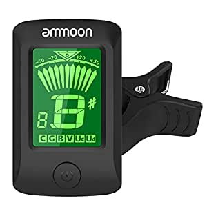 ammoon Guitar Tuner, Clip on Tuner Large LCD Display, Battery Included