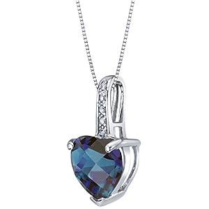 14K White Gold Diamond and Genuine or Created Gemstone Heart Pendant