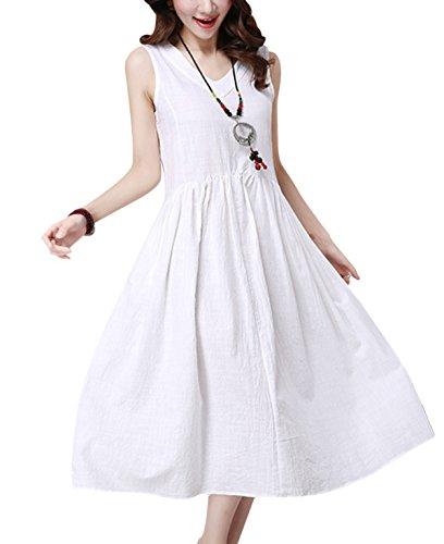 Women Boho Dress Long Leisure Skirt Casual Loose Sleeveless Cotton Maxi Summer Autumn Dresses for Obesity Women White XXL
