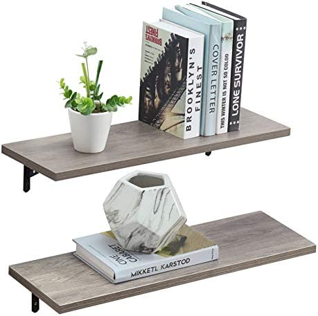 Praisun Wall Display Shelves, Mounted Floating Storage Ledge, Kitchen Rack, Office Shelf, Room Decor, Set of 2, Gray