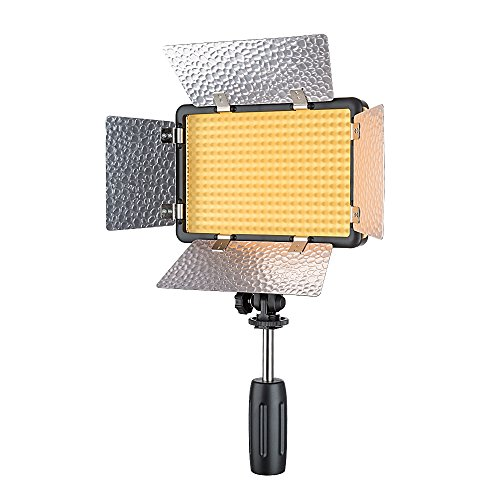 Godox Portable LED Video Studio Light LED308W II, Dimmable 5600K White Light with Remote Control and Barndoor, Battery and DC Powered for Outdoors and Indoors Shooting by Godox