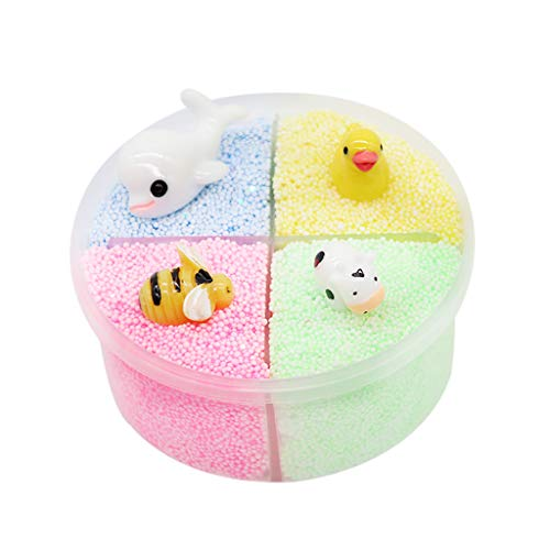 VOWUA Slime Fluffy Soft Creative Slime Pretty Color Mixing Mud Puff Slime Putty Scented Stress Kids Clay Toy 120ml]()