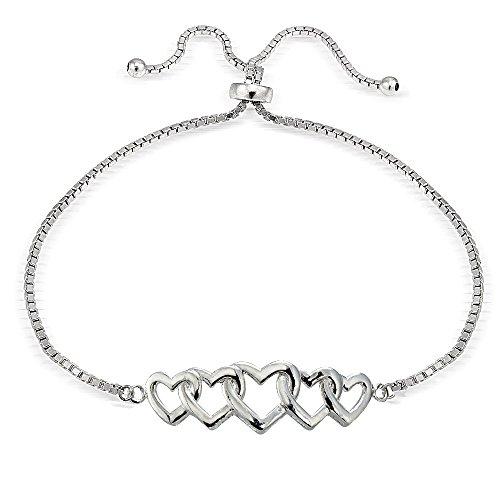 Hoops & Loops Sterling Silver Intertwining Hearts Polished Adjustable Bracelet